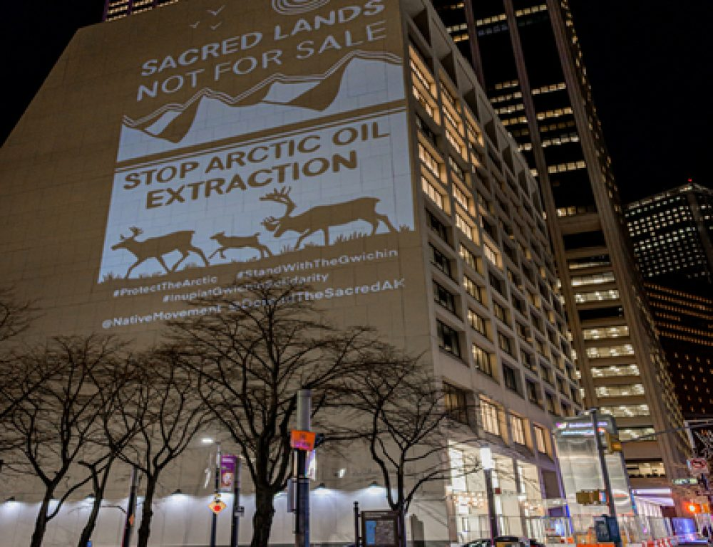 MANHATTAN, NEW YORK, UNITED STATES - 2021/01/06: Activists with Rainforest Action Network and The Illuminator projected 30ft tall images on the side of a building in the New York financial district with messages opposing the sale of land for oil extraction in the Arctic National Wildlife Refuge. (Photo by Erik McGregor/LightRocket via Getty Images)